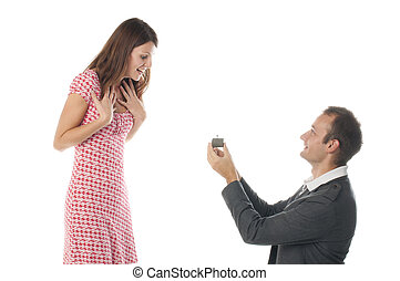 Proposal scene with happy woman and man