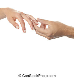 Wedding hands - Isolated scene with weeding hands of spouses...