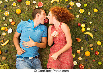 Couple with fruit