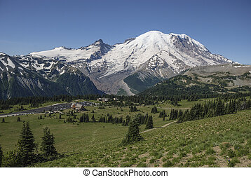 Mt Rainier eastern face - A view of Mt Rainier in Mt Rainier...