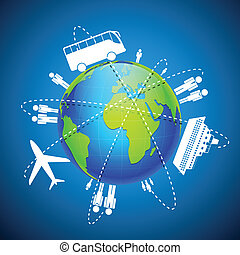 World Transport - illustration of different means of...