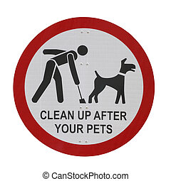 Park Sign Pet Waste Sign - u201CClean up after your...