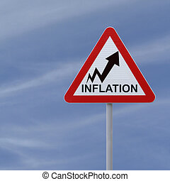 Inflation Going Up - Road sign showing increasing trend of...
