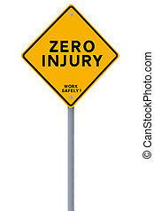 Zero Injury  - Road sign with a safety reminder