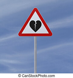 Breakup Ahead - Actual road sign modified to indicate...