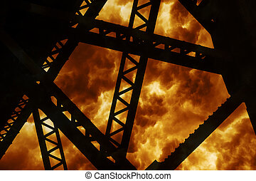 Steel Structure Explosion - Steel Structure Silhouette of a...