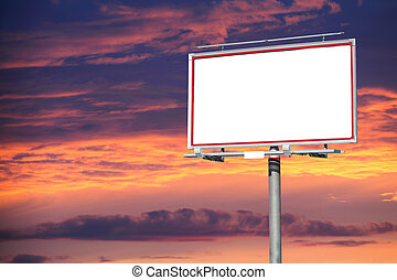 Blank white billboard over evening sky for your...