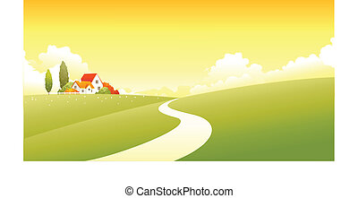 House on a Green landscape