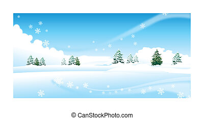 Fir trees over snow landscape - This illustration is a...