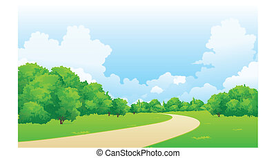 Curved path over green landscape - This illustration is a...