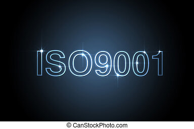iso9001 - blue color on black background iso9001