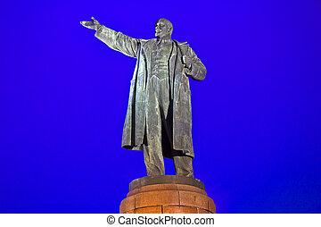 Lenin in Volgograd - Monument of Lenin in Volgograd, night...