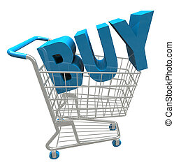 Shopping Cart - Buy Word - The word Buy in a shopping cart