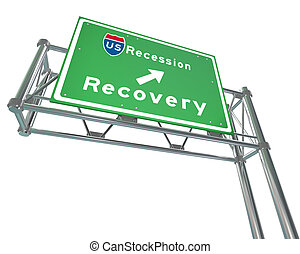 Freeway Sign - Recession Next Exit Recovery - A green...