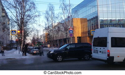City street traffic in Petrozavodsk, Russia - PETROZAVODSK,...
