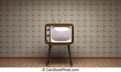 Old TV in room Retro style colors