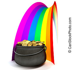 Pot O' Gold At The End Of A Rainbow - A cast iron pot filled...