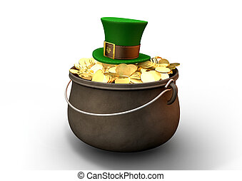 Pot Of Gold With Leprechaun Hat - A cast iron pot filled...