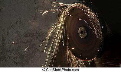 Closeup of metal cutting