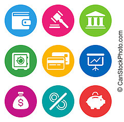 color finance icons - color circular finance icons isolated...