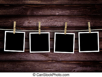 Historical photo concept - Old wooden polaroid film blanks...