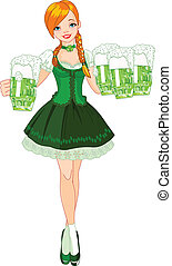 Irish girl - Illustration of cute Irish girl serving beer
