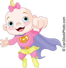 Super Baby Girl - Illustration of Super Hero Baby Girl