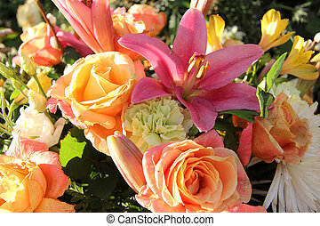 Mixed bouquet in pastel colors - Mixed floral arrangement in...
