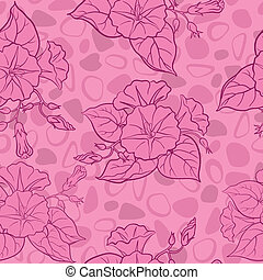 Seamless floral background, ipomoea flowers and abstract...