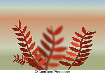 Branch of tree with red leaves on landscape