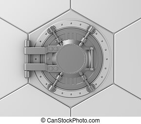 Bank vault safe door concept.