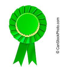 blanco, verde, premio, insignia