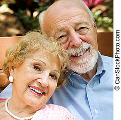 Portrait of Senior Couple - Closeup portrait of happy,...
