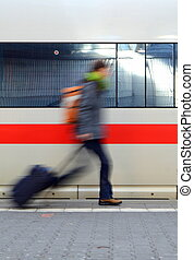 Person Running For Train - Travel Image Of A Motion Blurred...