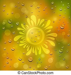 Natural green and yellow background. Drawn sun on the wet...