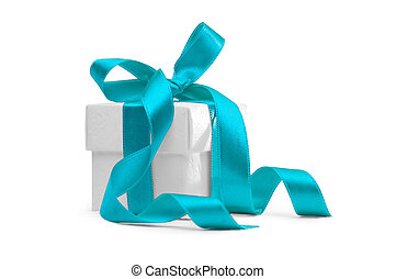 present box with light blue ribbon isolated on white...