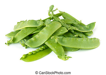 Snow Peas or Mange-Tout Isolated - Heal of snow peas or...