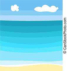 Sea and beach - Sea scape and beach. Vector illustration