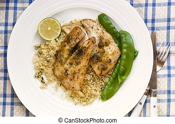 Fish with Cous Cous and Snow Peas