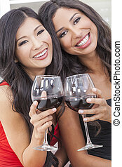 Two Happy Women Friends Drinking Wine Together - Two...