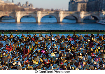 Padlocks in the Pont Des Arts, Paris, Ile de France, France