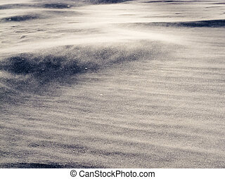 Wind drift snow flying over snow surface refief - Blizzard...