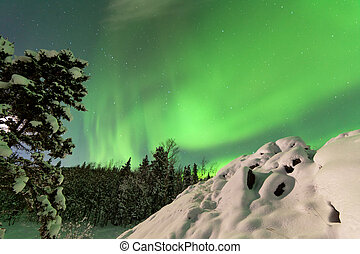 intenso, mostra, settentrionale, luci, aurora, borealis