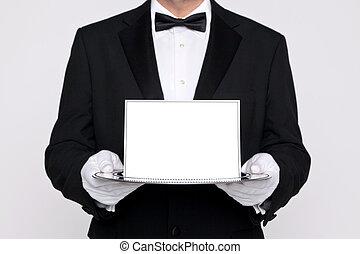 Butler holding a blank card upon a silver tray - Butler...