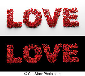 Love made from red rose petals on white and black background