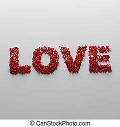 Love made from red rose petal