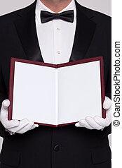 camarero, tenencia, abierto, blanco, menú