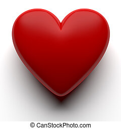 Red 3D heart isolated with clipping path