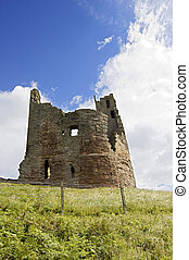 Castle Keep at Dunstanburgh - Ruined tower or keep at...