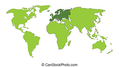 Europa, mapa, mundo